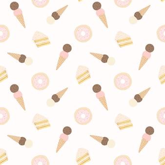Vector sin patrón con tortas, donuts y helado.