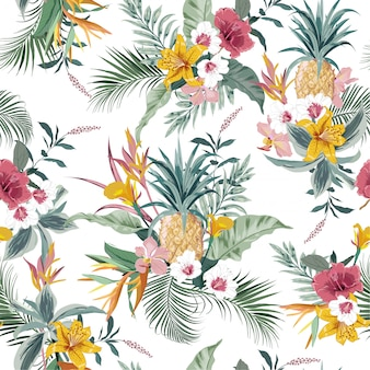 Vector sin patrón tropical colorido bosque exótico