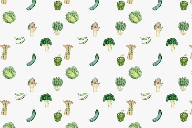 Vector de patrón de verduras verdes