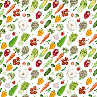 Vector sin patrón con verduras