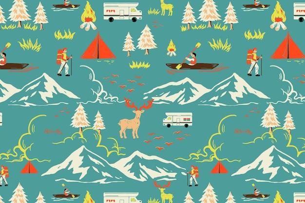 Vector de patrón de viaje de camping verde con ilustración de dibujos animados turísticos