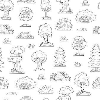 Vector de patrones sin fisuras, árboles y arbustos. bosque incoloro