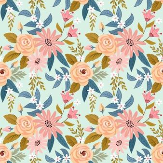 Vector de patrones sin fisuras de coloridas flores dibujadas a mano