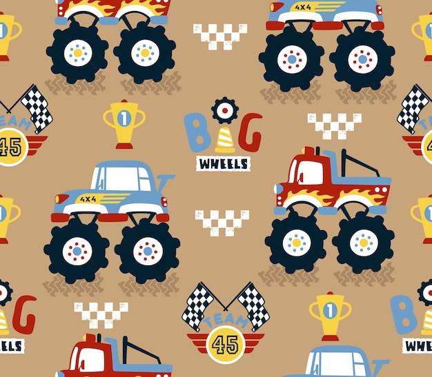 Vector de patrones sin fisuras con competencia de dibujos animados de carreras de camiones monstruo