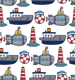 Vector de patrones sin fisuras de dibujos animados de barco y submarino con elementos de navegación
