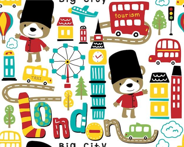 Vector de patrones sin fisuras con dibujos animados de la ciudad de londres