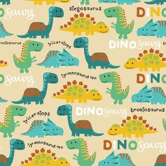 Vector de patrones sin fisuras de dibujos animados coloridos dinosaurios
