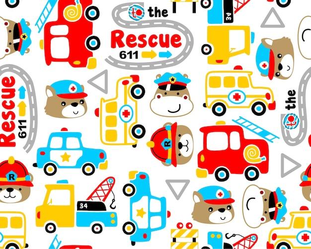 Vector de patrones sin fisuras con dibujos animados de equipo de rescate