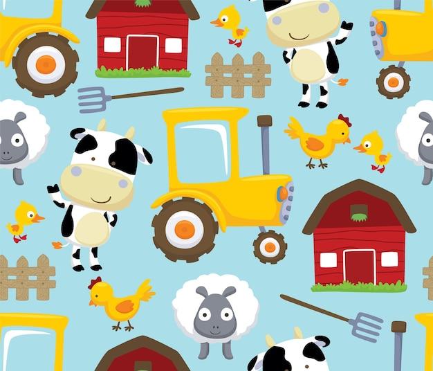 Vector de patrones sin fisuras de dibujos animados de tema de campo de granja con animales de ganado
