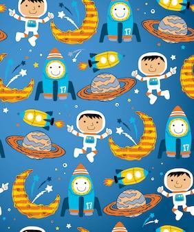 Vector de patrones sin fisuras de dibujos animados de tema del espacio exterior
