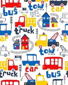 Vector de patrones sin fisuras con dibujos animados de vehículos