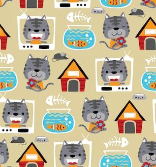 Vector de patrones sin fisuras de divertidos dibujos animados de gato con sus juguetes