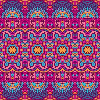 Vector de patrones sin fisuras doodle handdrawn colorido étnico tribal geométrico psicodélico mexicano impresión