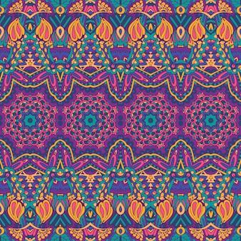 Vector de patrones sin fisuras étnicas tribales geométricas psicodélicas impresión colorida