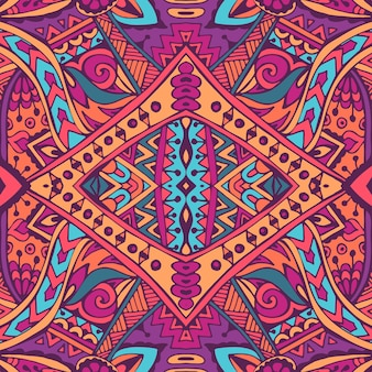 Vector de patrones sin fisuras flor colorida étnica tribal geométrica psicodélica impresión mexicana