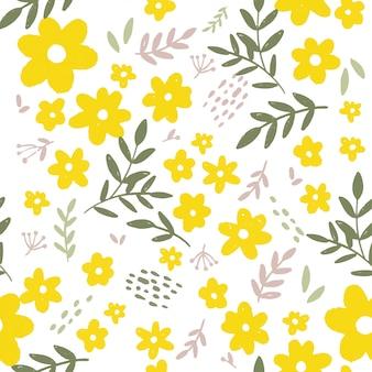 Vector de patrones sin fisuras con flor de primavera de amarillo