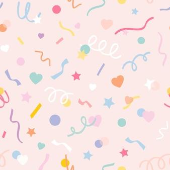 Vector de patrones sin fisuras de fondo con confeti pastel lindo