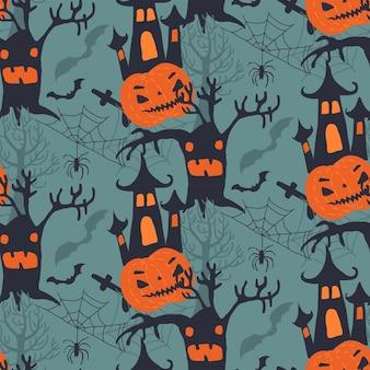 Vector de patrones sin fisuras de halloween con personajes de dibujos animados lindos y símbolos