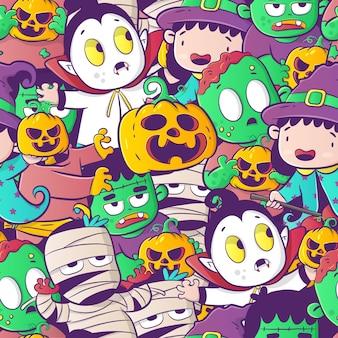Vector de patrones sin fisuras de halloween