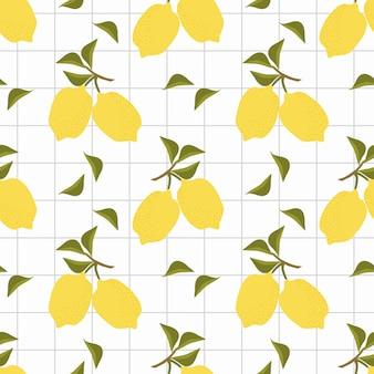Vector de patrones sin fisuras de limones frescos