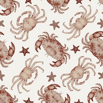 Vector de patrones sin fisuras de mariscos con cangrejos y estrellas de mar.