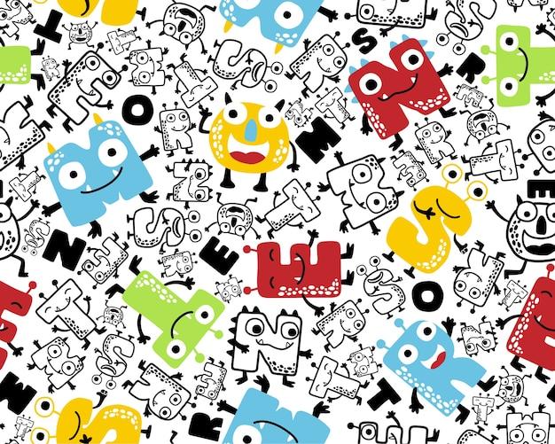 Vector de patrones sin fisuras con monstruos divertidos alfabeto