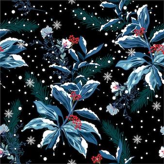 Vector de patrones sin fisuras de la nieve del invierno en el jardín noche de flores delicado humor suave y hermoso