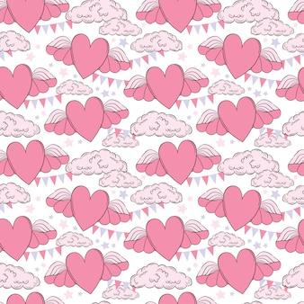 Vector de patrones sin fisuras plantillas de tarjetas del día de san valentín