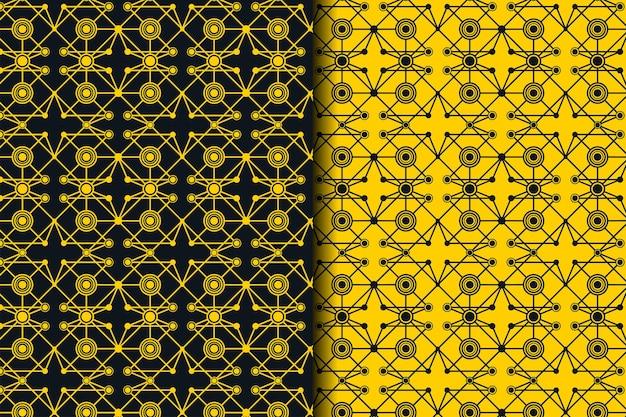 Vector de patrones sin fisuras. red de puntos y líneas brillantes conectados. onda dinámica abstracta de muchos puntos. líneas detalladas que forman un fondo abstracto. combinación de colores amarillo y negro.
