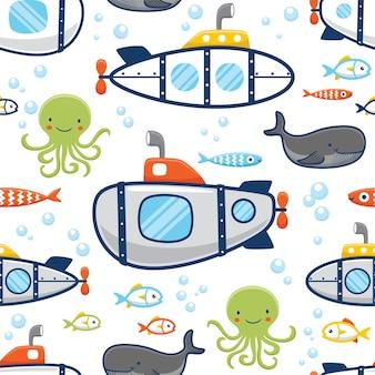 Vector de patrones sin fisuras de submarino con animales marinos
