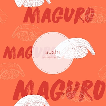 Vector de patrones sin fisuras de sushi maguro.