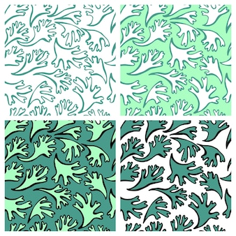 Vector de patrones sin fisuras con textura de plantas marinas para tejidos textiles en colores pastel