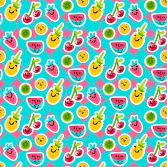 Vector patrones de frutas de verano en estilo de dibujos animados. frutas y bayas. dulce telón de fondo