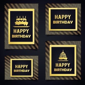 Vector pattern birthday cards