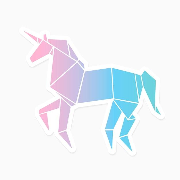 Vector de pegatina geométrica de unicornio de origami