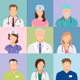 Vector de perfil de médicos y enfermeras. cirujano y terapeuta, oculista y avatares nutricionistas.