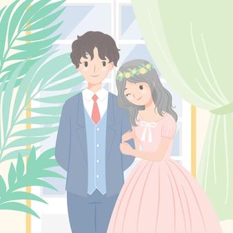 Vector personaje boda pareja de pie brazo en brazo ventana casa fondo