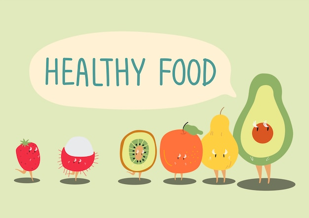Vector de personaje de dibujos animados de frutas saludables