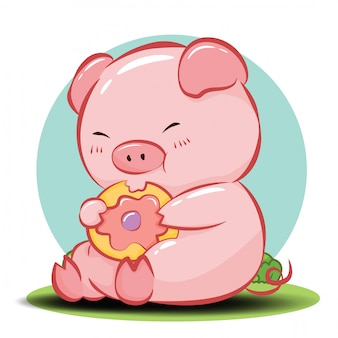 Vector de personaje de dibujos animados lindo cerdo