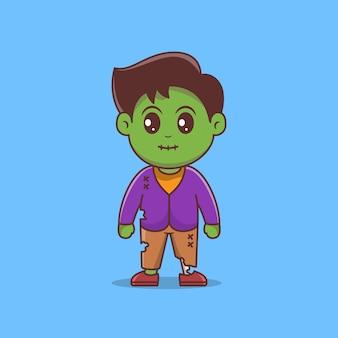 Vector de personaje de dibujos animados lindo zombie