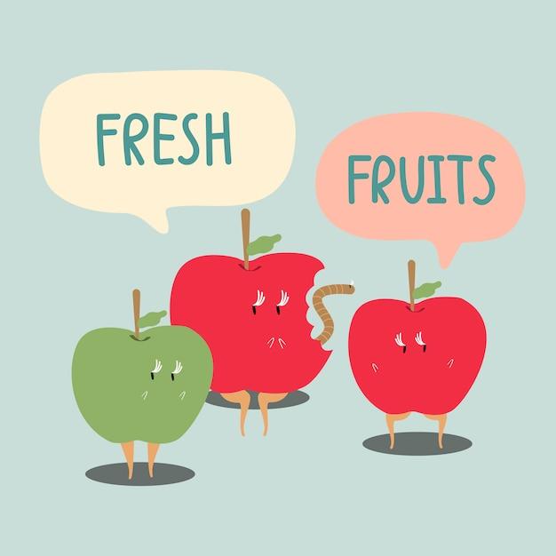 Vector de personaje de dibujos animados de manzanas rojas y verdes frescas
