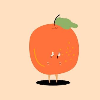 Vector de personaje de dibujos animados naranja fresca