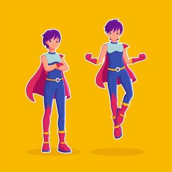 Vector de personaje de dibujos animados de superhéroes jóvenes