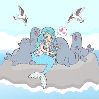 Vector personaje sirena y leones marinos playa fondo