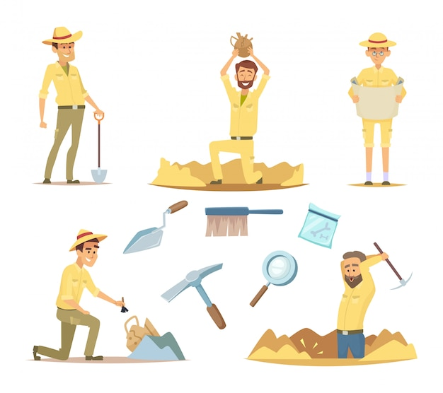 Vector de personajes arqueólogos en el trabajo. dibujos animados de mascotas en poses de acción.