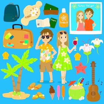 Vector de personajes y elementos de verano