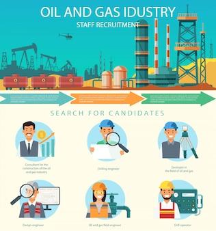 Vector de personal de la industria del petróleo y gas.
