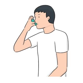 Vector de personas que usan inhalar medicina
