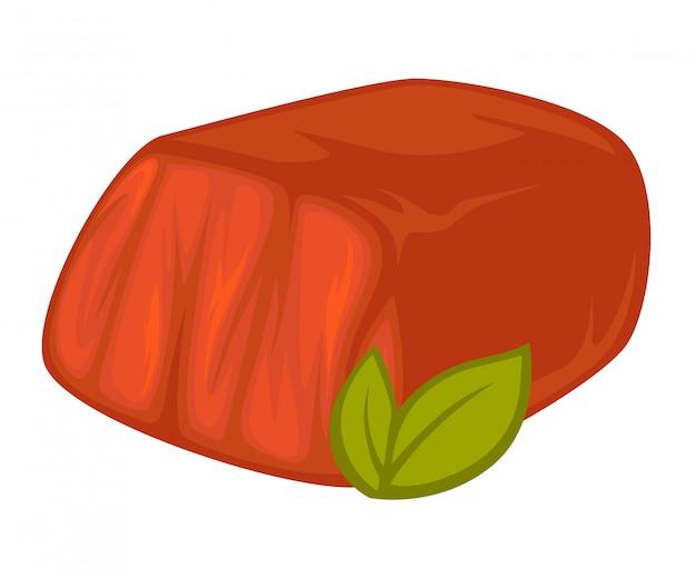 Vector pieza de carne ahumada.