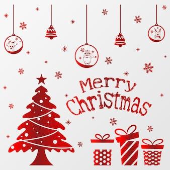 Vector de pino de navidad con bola y campana, cartel tipográfico de feliz navidad. eps 10 vector.